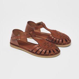 • Zara • Low Heel Leather Sandals